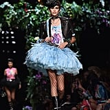 Kaia Walked in Jeremy Scott's Moschino Show in This Big, Blue Tutu and Fishnet Tights