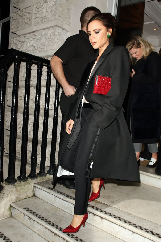 Victoria Beckham Red Glitter Pumps