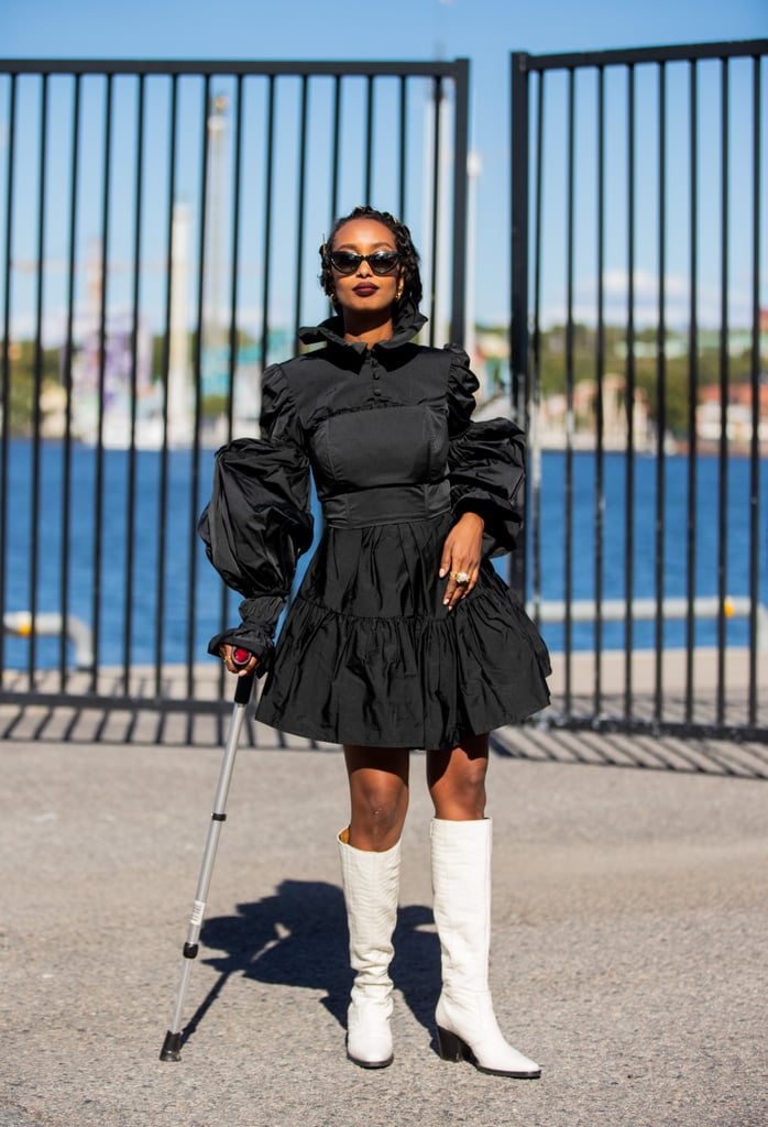 Balance a Victorian-inspired puff-sleeve dress with '60 go-go boots