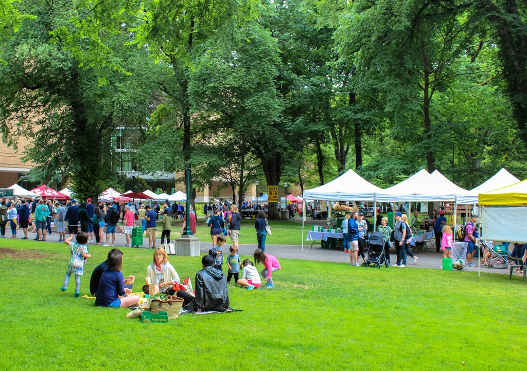 Once you've taken your time strolling past the tents and stalls, plop down on the campus lawn to enjoy some of the yummy goodness you managed to collect. It's the perfect place to sprawl out, relax, and people-watch as you enjoy a little picnic.