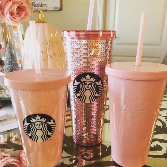 Starbucks Pink Glitter and Sequin Tumblers Holiday 2017