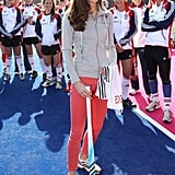 Kate Middleton wearing red pants in London's Olympic Park.
