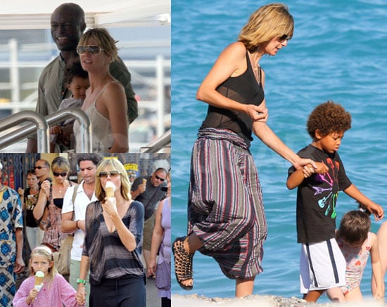 Pictures of Heidi Klum and Seal in Nice With Their Kids