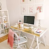 An Ikea desk gets a glamorous upgrade with this gilded desk tutorial.  Source: Ruth Eileen Photography via Style Me Pretty