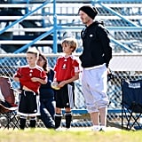 David Beckham took his boys, Cruz and Romeo, to their soccer game.