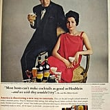 Broadway actor Robert Goulet and his wife pose for a high-brow Heublein cocktail ad in 1966.