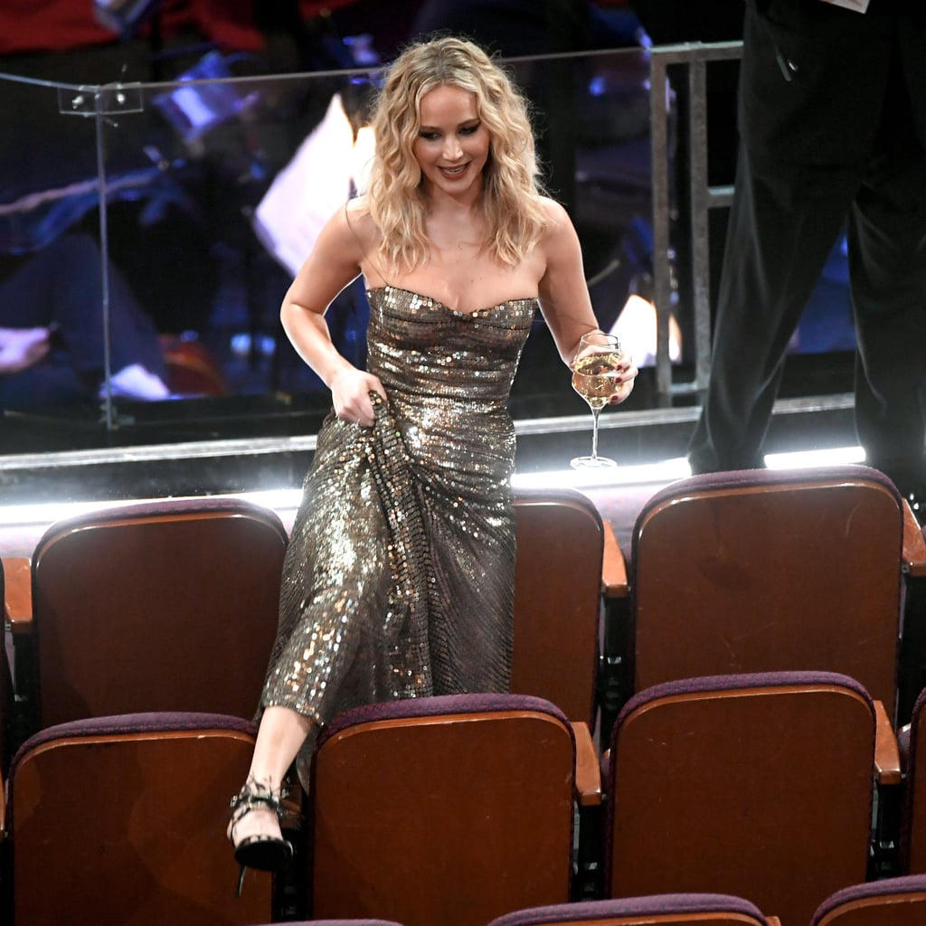 Jennifer Lawrence Trying to Get to Her Seat at Oscars 2018