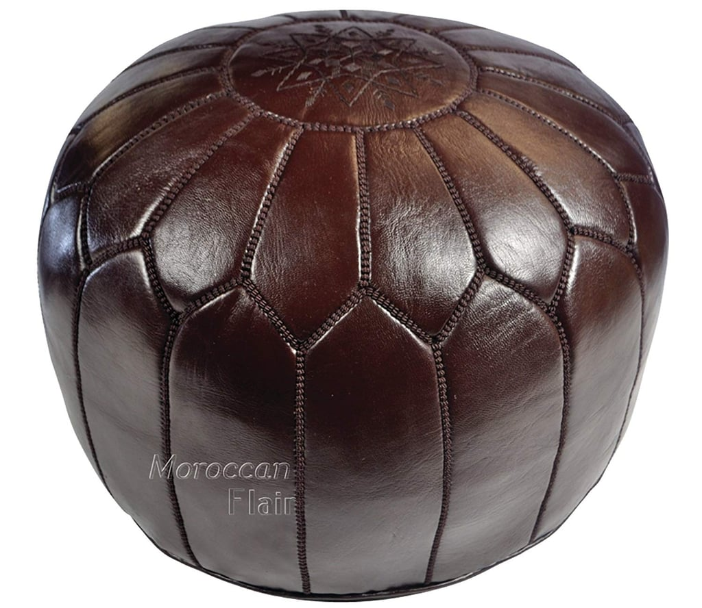 Moroccan Flair Leather Moroccan Pouf in Chocolate Brown