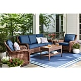 Hampton Bay Cambridge Brown Wicker Outdoor Sofa With Cushions