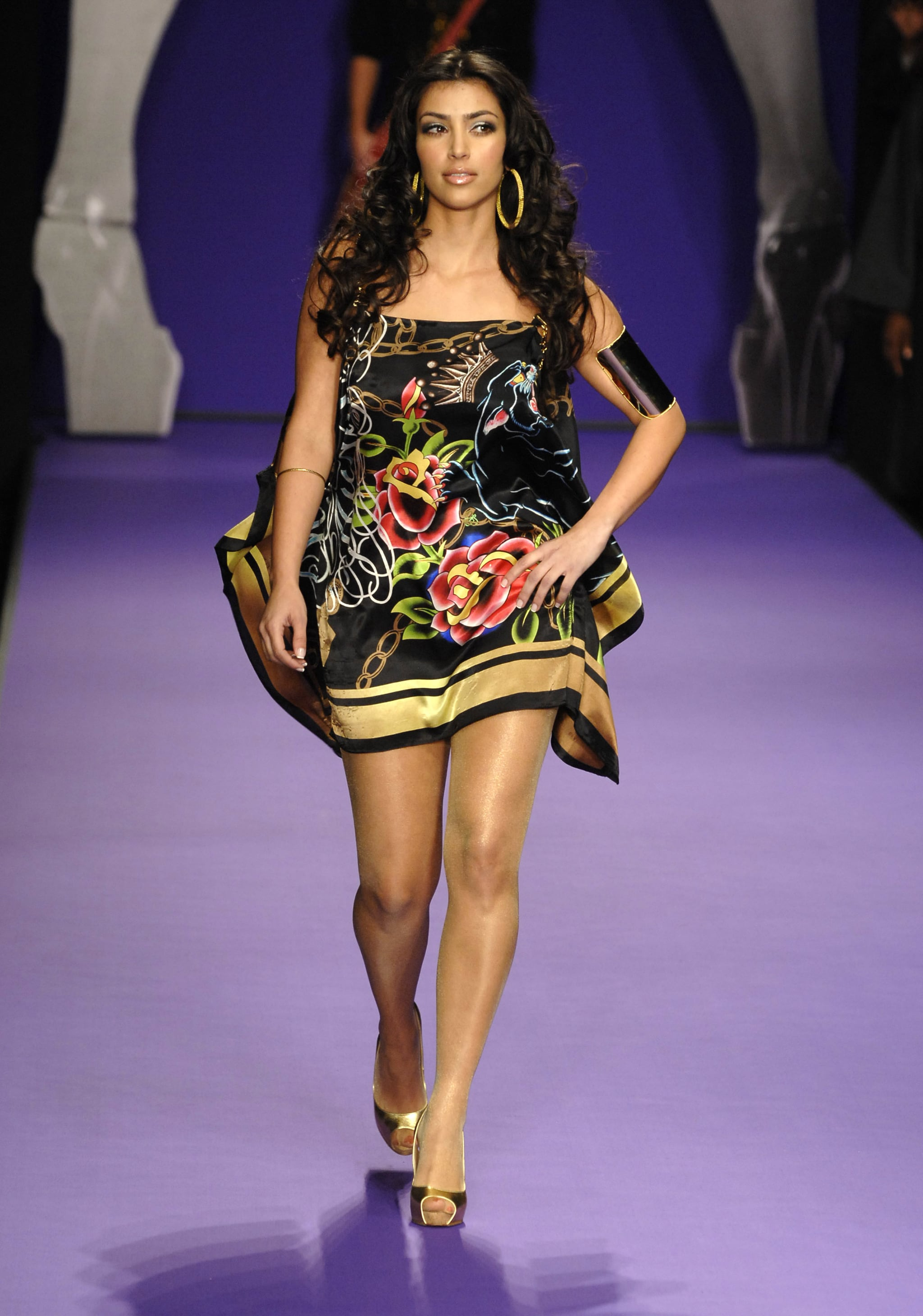 Kim Kardashian Hit The Runway For Christian Audigier During La Joyeux Anniversaire Kim