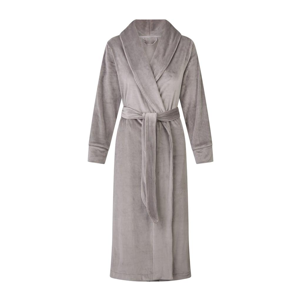 Kim Kardashian Skims Velour Long Robe in Smoke