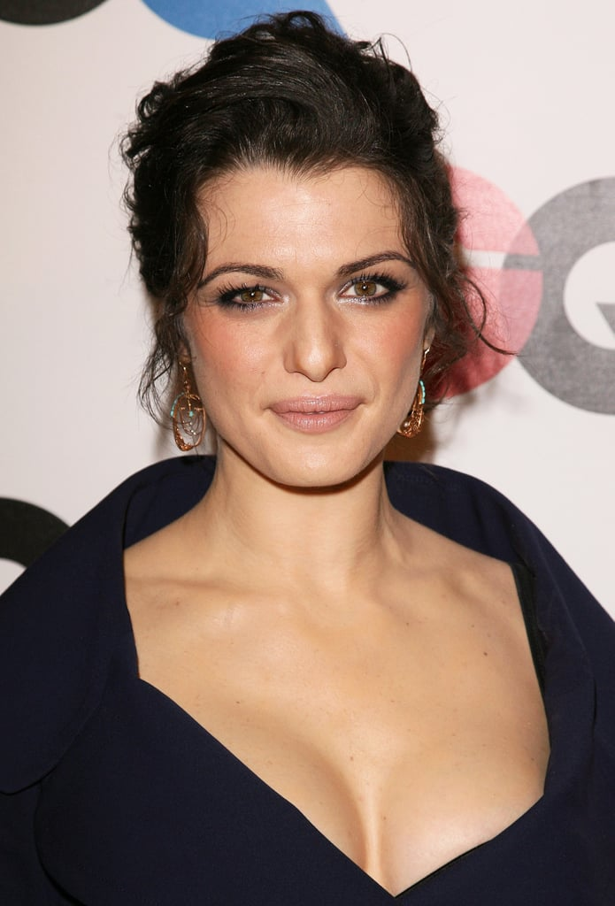Hitting up the festivities for GQ Celebrates 2005 Men of the Year, Rachel went for a sexier style with a messy up 'do, sultry eye makeup, and a plunging neckline.