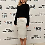 Imogen Poots opted for a slim pencil skirt at the London Film Festival screening of Inside Llewyn Davis.