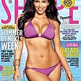 Kim graced the June 2010 cover of Shape magazine in a tiny purple two-piece.
