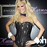 Former The Girls Next Door star Bridget Marquardt dresses as a zombie Playboy bunny for her Halloween party.