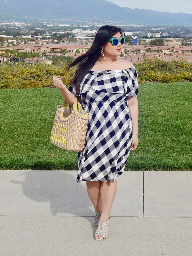 If shoulders are your best assets, try any off-the-shoulder variations. Blogger Allison Teng mastered Spring vibes in a gingham print midi dress and beige sandals. Toss in that wicker bag and you're ready for a holiday.