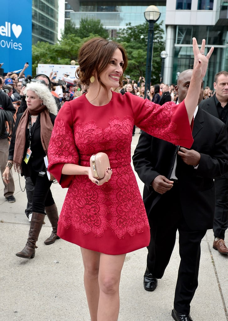 Julia Roberts waved to fans.