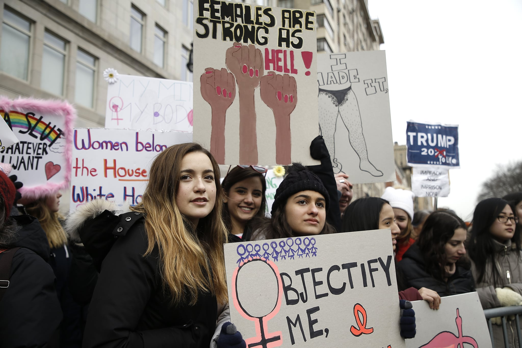 NEW YORK, NY  - JANUARY 18: Demonstrators participate in the 2020 Women's March on January 18, 2020 in New York City. (Photo by John Lamparski/Getty Images)