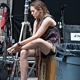 Elizabeth Olsen checked her feet on set.