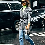 Wear Distressed Denim With Neutral See-Through Sandals and a Professional Blazer