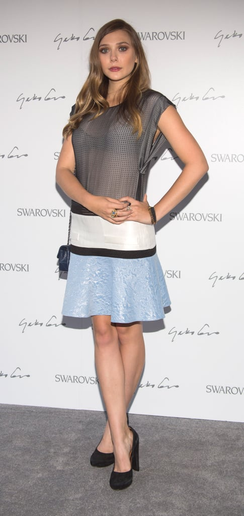 Elizabeth Olsen chose a ladylike colorblock confection for Swarovski's celebration of crystal and art.