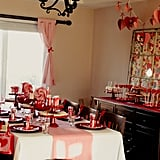 Pink, red, and white accents filled every corner of the house — window curtains included.  Source: Jenny Cookies