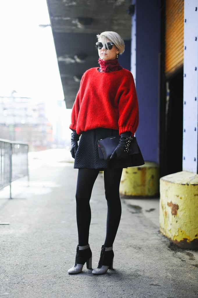 A full mini and a bright red sweater had schoolgirl-inspired appeal.