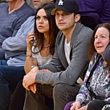Mila Kunis and Ashton Kutcher watched the basketball game together in LA.