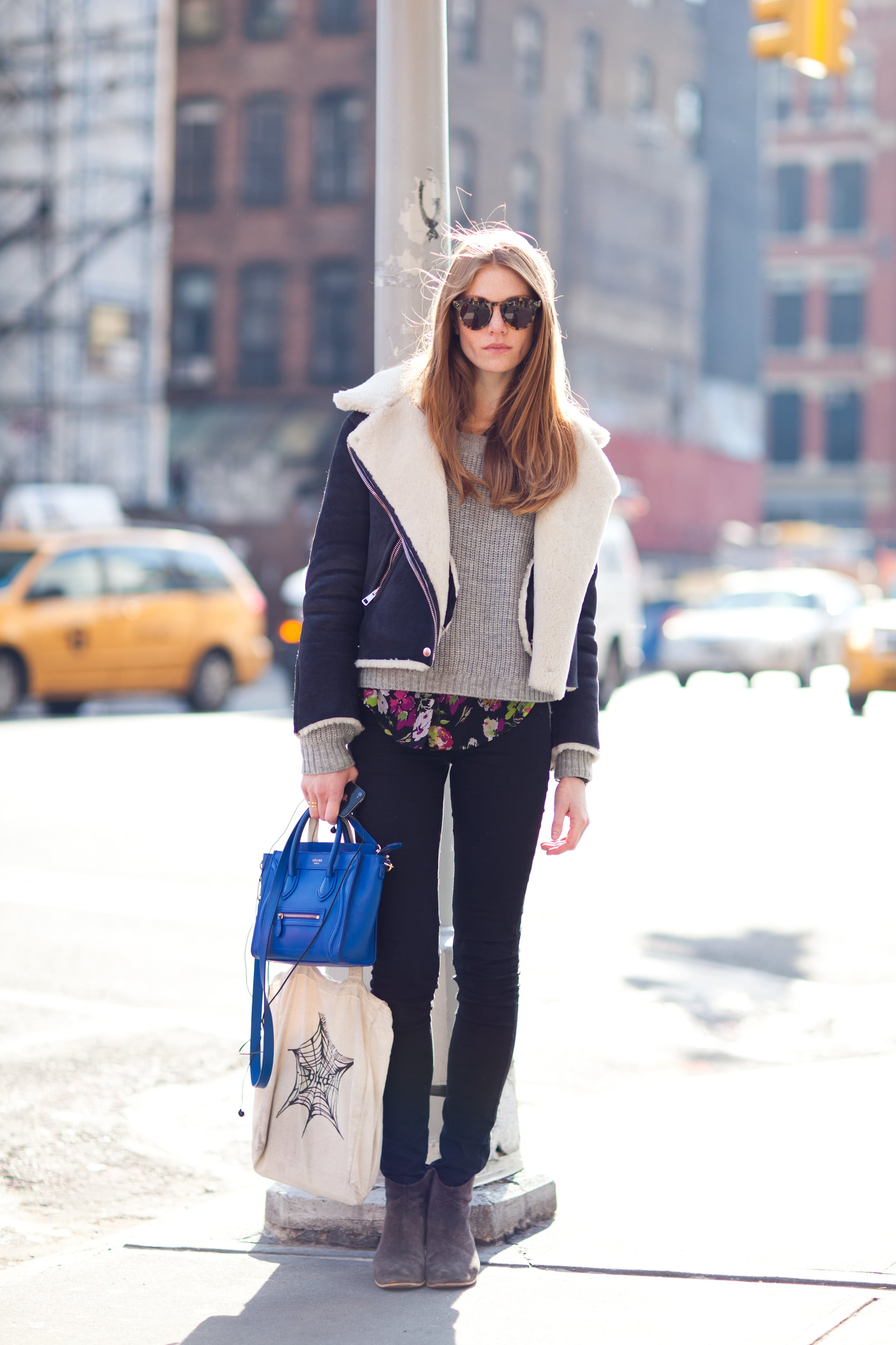 A pop of bright blue gives Winter textures and closet basics a fresh finish. Source: Adam Katz Sinding