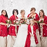 Red shawls were worn on top of these bridesmaids beige gowns.