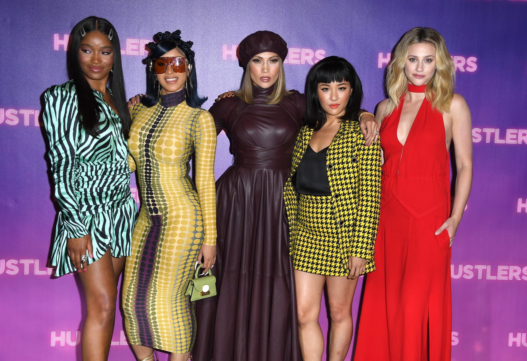 LOS ANGELES, CALIFORNIA - AUGUST 25: Keke Palmer, Cardi B, Jennifer Lopez, Constance Wu, and Lili Reinhart  pose at the Photo Call For STX Entertainment's