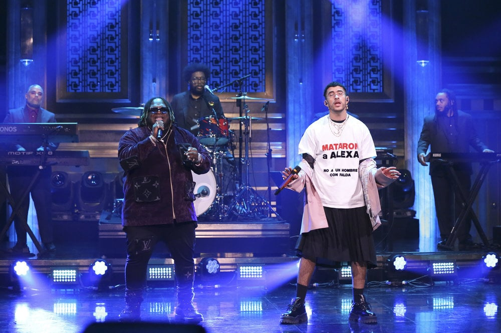 THE TONIGHT SHOW STARRING JIMMY FALLON -- Episode 1214 -- Pictured: Musical guest Bad Bunny & Sech perform on February 27, 2020 -- (Photo by: Andrew Lipovsky/NBC)