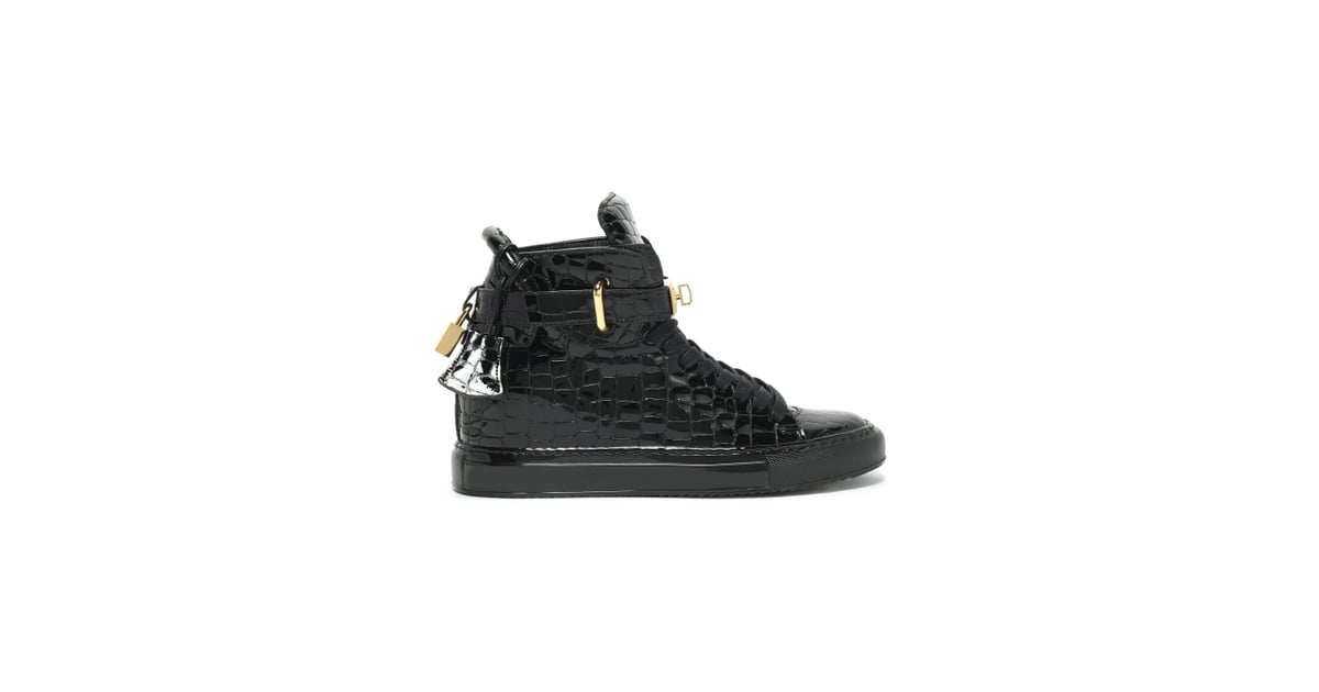 07ec392658447f Buscemi Embellished Croc-Effect Patent-Leather High-Top Sneakers ...