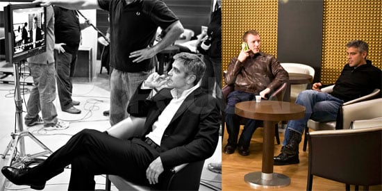 Photos of George Clooney and Guy Ritchie Filming Nescafe Commercial in Milan