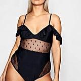 boohoo Plus Lettie Polka Dot Mesh Frill Swimsuit