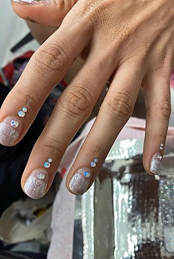 Jameela Jamil Minimalist Rhinestone Nail Art For Vogue India