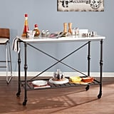 Southern Enterprises Black Serving Cart With Faux Marble Top