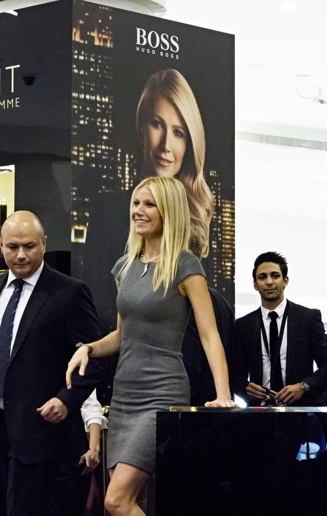 "Gwyneth Paltrow made an appearance on behalf of Boss Nuit at the Paris Gallery in Dubai today. The afternoon of work came on a special occasion for Gwyneth — today is Gwyneth Paltrow and Chris Martin's anniversary. The couple tied the knot back in 2003 at San Ysidro Ranch in Montecito, CA. They managed to spend quality time together ahead of the milestone. Life has been extra busy for Gwyneth recently as she's traveled the world touting Hugo Boss's fragrance. She's attended events in Spain and now the United Arab Emirates. She's also on the January 2013 cover of InStyle UK. Inside the magazine, Gwyneth spoke about expanding her family and much more. Here are highlights from Gwyneth Paltrow in InStyle UK:    On having another baby: ""My brain says, 'Oh, I think I'm done, the kids are big now and I don't want to go back to changing diapers.' But a part of me would love to have another. Of course, I'm old now!""   On taking risks: ""I am inherently a risk taker. Starting GOOP was a risk — I didn't expect when it first came out for it to have so much scrutiny . . . people questioning so much why I was doing it. Also, quitting acting for three years to have kids and not really thinking about my career in that way. Just thinking I want to have kids and I want to be home with them.""  On putting on her editor hat for GOOP: ""I come up for ideas for content, mainly the things I am curious about and want to know about. Then we research them. I'm naturally a very curious person. I always want to know what's coming around the corner, what new hotels there are, food, travel stuff. Things I've always wanted to know, like how to make a bed in a hotel. And I think, 'Maybe someone else wants to know about this too?' It's fun!"""