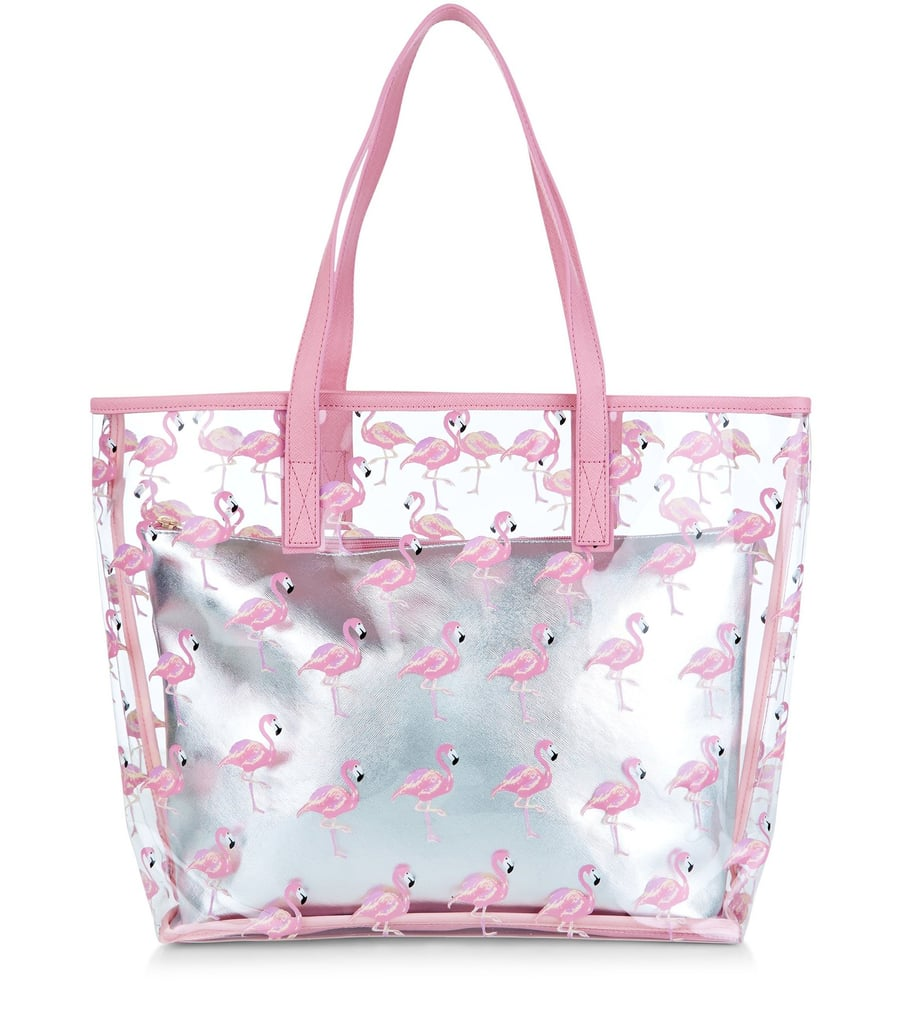 4cc492692fb7 New Look Pink Flamingo Print Clear Beach Bag (£20)   Flamingo-Themed ...
