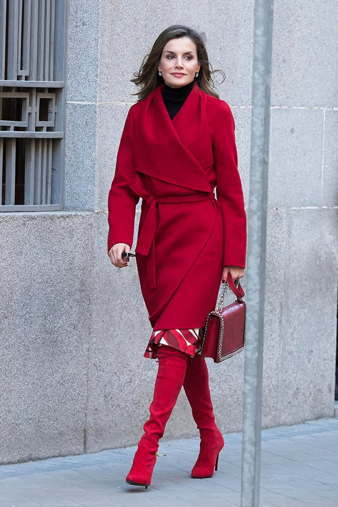 Queen Letizia's Red Knee-High Boots