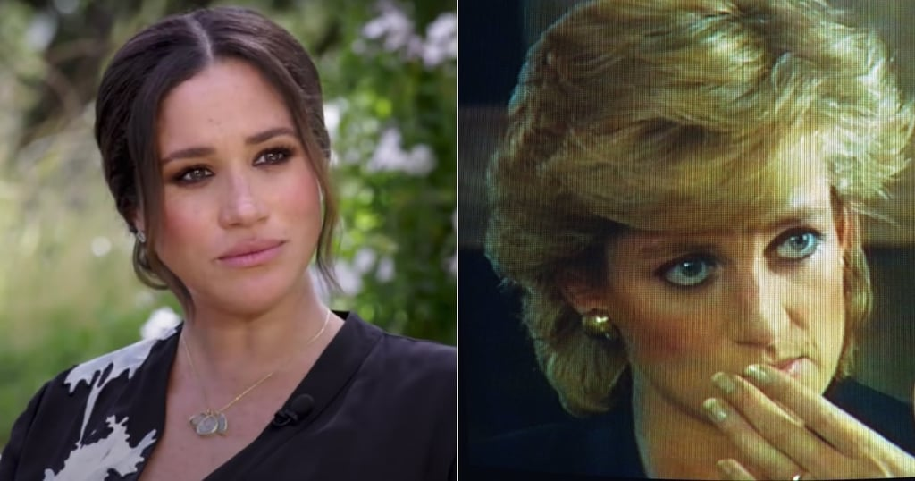 It's no secret that royal fashion and beauty looks are always carefully considered. Each color, designer, and style is deliberate. That's why when the first trailer clip of the Duke and Duchess of Sussex's much-anticipated interview with Oprah was released, we were transfixed by Markle's makeup. The bold eyeliner and shadow combination seems to be a very intentional choice for the historic television appearance. Princess Diana was the main topic of conversation in the interview trailer, so it's no surprise that the duke and duchess wanted to honor her in many ways for the occasion. For one, Markle wore a diamond tennis bracelet once owned by Princess Diana. The duchess also appears to have replicated Diana's strong eye makeup that the princess wore for her 1995 BBC Panorama interview. Much like Diana's monumental TV interview, Markle and Prince Harry's sit-down with Oprah is about them taking control of their own narrative, which is why we can't help but see the resemblances between the two's makeup — especially since Markle often keeps her eye makeup fairly understated for public appearances. Both looks included black kohl eyeliner along the entire waterline, with the same shade taken along the upper and lower lash line, topped off with a neutral pink lip to keep the spotlight on the bold eye makeup.  Now, sure, this similarity could just be a coincidence, but knowing the royals and their careful consideration of their aesthetic choices, it seems likely that Markle wanted to honor Diana and replicate some beauty tips from her past for the Sussex's historic moment. And even if she didn't have Diana in mind for this makeup look, both the princess and the duchess have made a case for how a powerful makeup look can draw viewers' attention to their eyes — and their words.