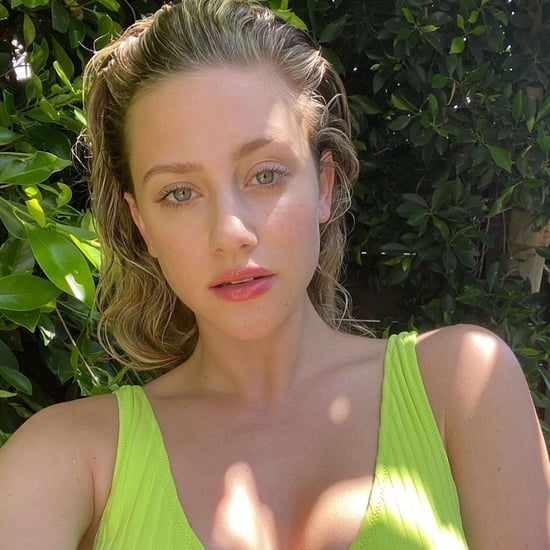 Lili Reinhart in Lime-Green Solid and Striped Bikini