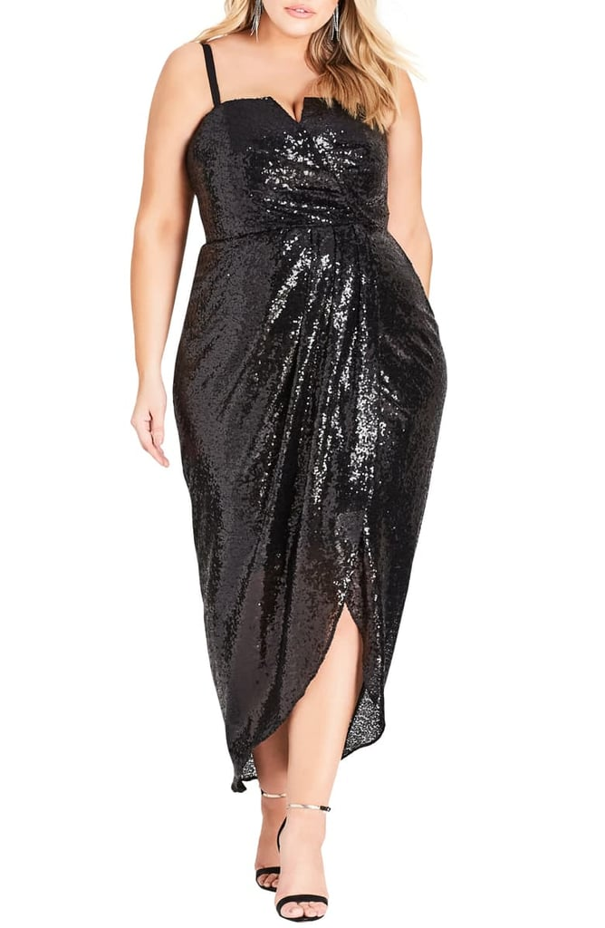City Chic Siren Sequin Convertible Strapless Gown (Plus Size)