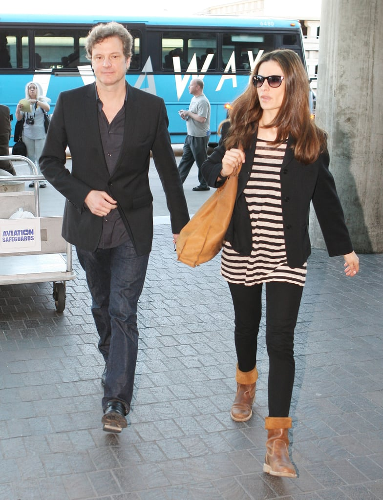 Pictures of Colin Firth With Wife Livia Giuggioli at LAX Amid Awards For The King's Speech