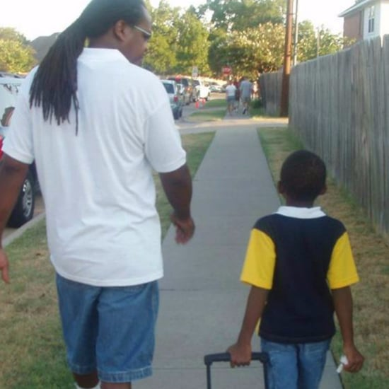 Teenager's First Day of School Side-by-Side Photos With Dad