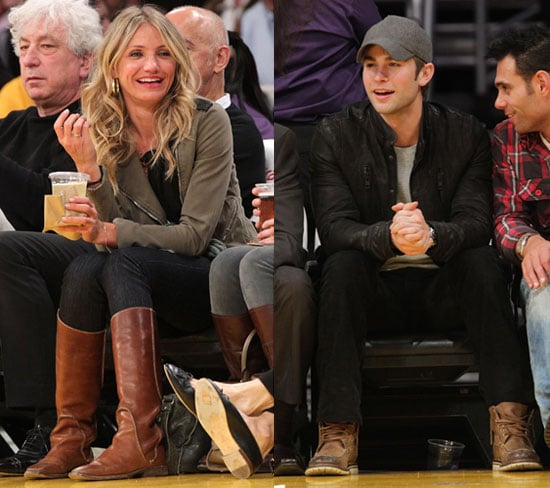 Pictures of Cameron Diaz at the Lakers Game in LA With Chace Crawford