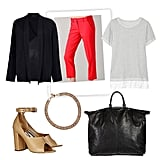 If you're on the hunt for a job in fashion, opt for pieces that show off your skill set. Zero in on a few trend-driven items, like a standout pair of heels and a bold pair of trousers, but don't over do it. The trick is to balance it out with simpler stuff, like a blazer, a staple tote, and an easy tee for a look that's equal parts business and style.  CLU Contrast-Hem French Terry Sweatshirt ($175), Dstm Dropped Blazer ($414), Elie Tahari Fiona Pants ($248), 3.1 Phillip Lim Cody Leather Pumps ($595), Philippe Audibert Watson Gold-Plated Necklace ($255), Alexander Wang Oversized Liner Calf Chiffon With Black Nickel ($760)