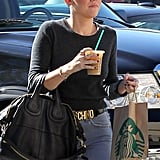 Miley Cyrus wore her favorite Moschino belt for a Starbucks run.