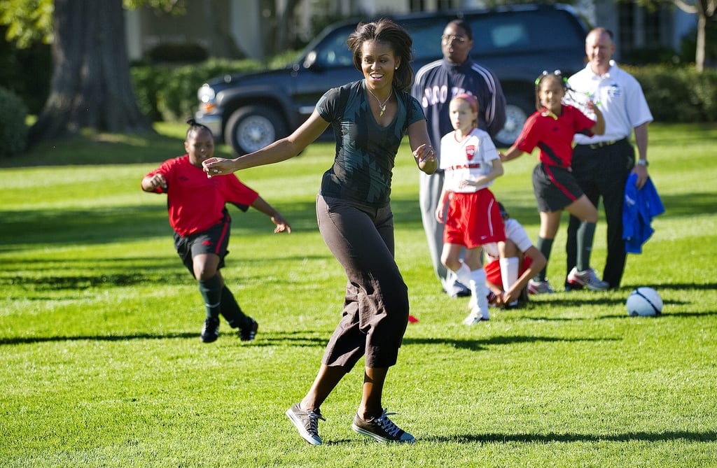 When She Played Soccer On The White House Lawn Michelle Obama