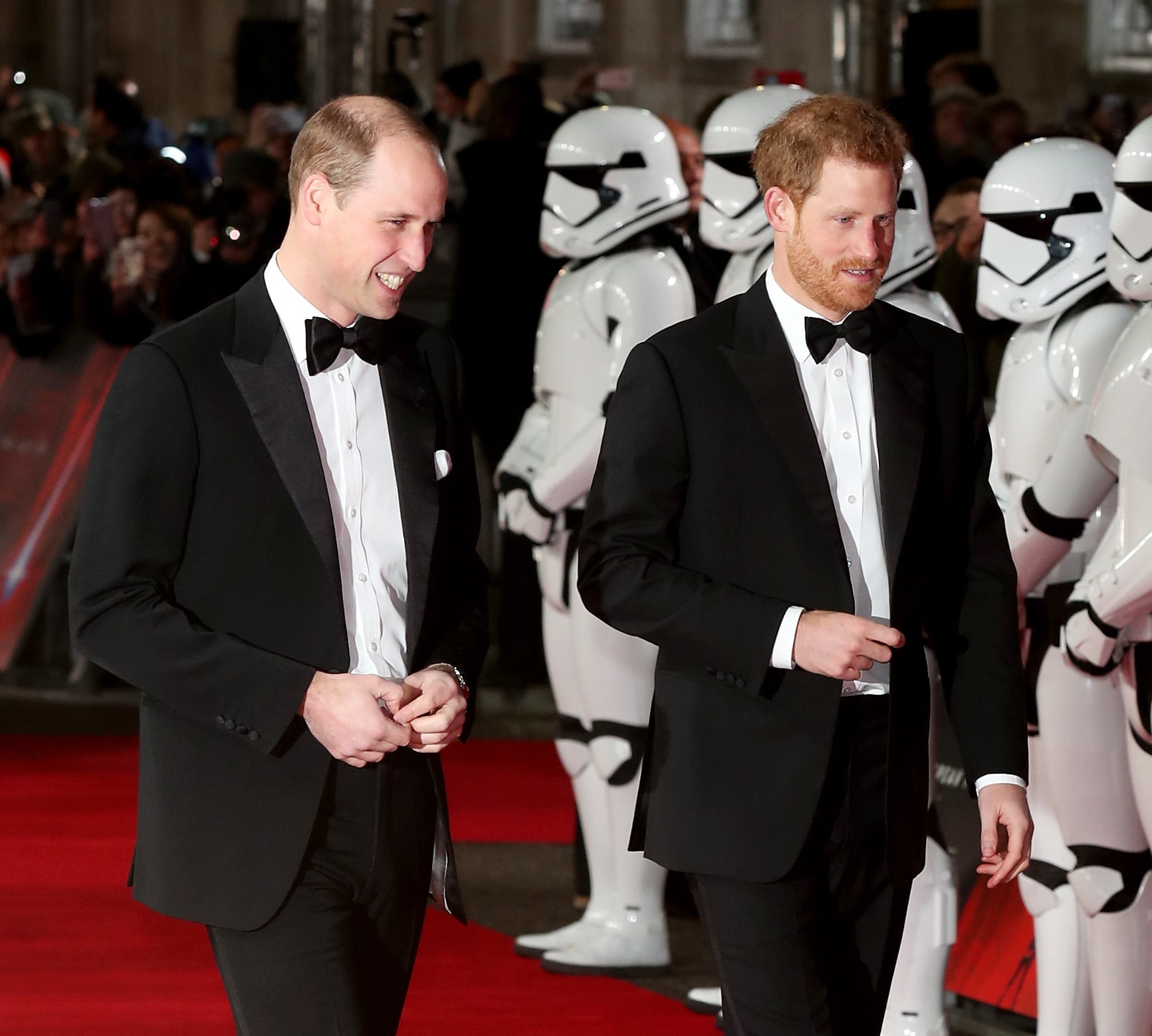 LONDON, ENGLAND - DECEMBER 12:  Prince William, Duke of Cambridge and Prince Harry attend the European Premiere of 'Star Wars: The Last Jedi' at Royal Albert Hall on December 12, 2017 in London, England.  (Photo by Neil Mockford/FilmMagic)